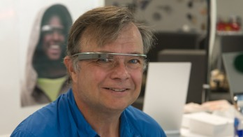 David wearing newly fitted Google Glass at the Googleplex