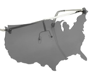6e1edbd86fa1 Renowned designer Jeremy Scott in collaboration with Linda Farrow Map Of  The USA Eyewear. Haven t seen this on a person yet