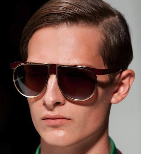 0079bea4c8faa Prada Mens Sunglasses Spring 2013 showing again oversized aviator fashion  with flash tinted mirrored lenses.