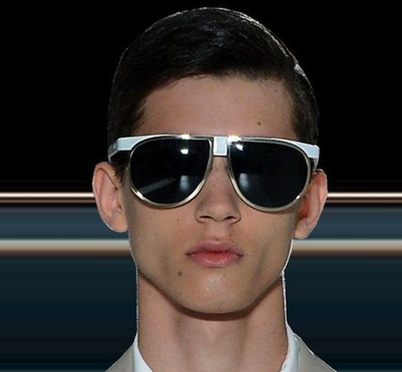 1727b3d740a9 Prada Mens Sunglasses Spring 2013 showing again oversized aviator fashion  with flash tinted mirrored lenses.
