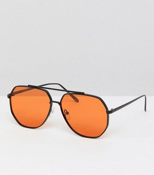 Black Metal Aviator Fashion Sunglasses With Orange Lens