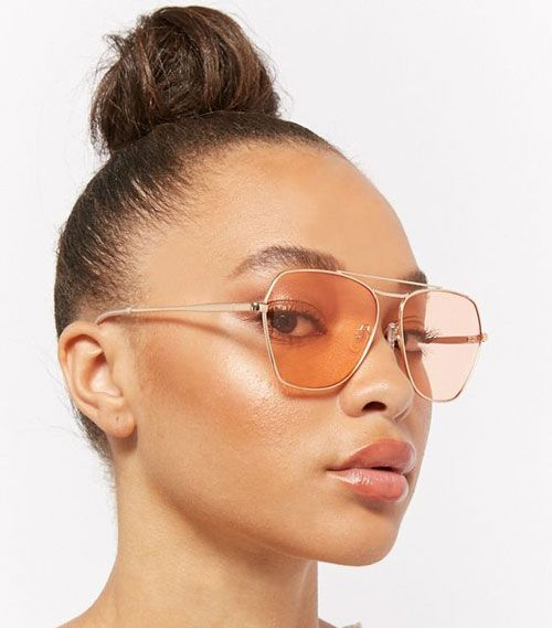Angled Orange Lens Sunglasses