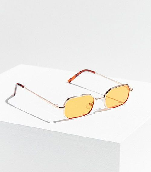 Tiny Rectangle Orange Lens Sunglasses